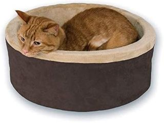 K H Pet Product Heated Thermo Kitty Heated cat Bed  Mocha Tan small