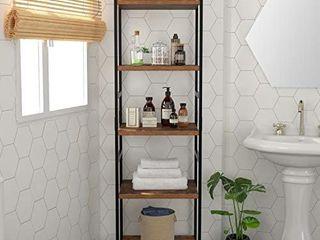 Homfa 5  tier corner shelf  Free standing ladder shaped stand rack  Black  Retails 99 99