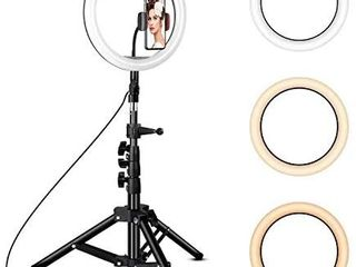 Rovtop 10 inch Ring light with Stand Tripod  lED Circle lights with Phone Holder for Selfie Camera Photography Makeup Video live Streaming