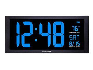 ACURITE 76100M Jumbo Digit Calendar Clock W  Indoor Temperature  18  Blue