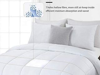 HOMBYS lightweight Cooling Bamboo Comforter Queen Size Quilted Down Alternative Comforter Duvet Insert 100  Bamboo Cover with 8 Corner Tabs Summer Comforter  for Night Sweats for Hot Sleepers