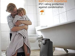 OPOlAR Space Ceramic Bathroom Heater with IP21 Water Proof for Home   Office  Fast Heating   Auto Oscillation  Portable  Adjustable Thermostat  1500W  Black