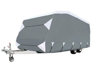 Classic Accessories OverDrive PolyPRO 3 Deluxe Pop Up RV Cover  Fits 16    18  Trailers   Max Weather Protection with 3 Ply Poly Fabric Roof RV Cover