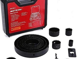 Hole Saw Set  Meterk 17 Pcs Hole Saw Kit with 13Pcs Saw Blades  2 Mandrels  1 Installation Plate  1 Hex Key  Max Size 6 152mm  and Min Size 3 4   19mm  Ideal for Soft Wood  PVC Board and More