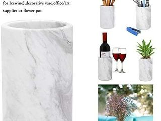 Kitchen Utensil Holder for Countertop  ChasBete Natural Marble Wine Chiller Bucket Utensil Crock Cooking Utensil Holder
