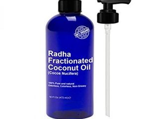 Radha Beauty Fractionated Coconut Oil 16 Oz   100  Pure   Natural Carrier and Base Oil for Aromatherapy  hair and Skin   free Pump   16 fl oz