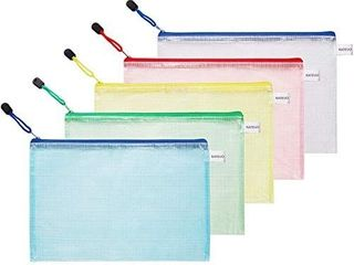 KATEVO Zipper File Bags  Pack of 5  5 Colors Zippered Water Resistant PVC Bag Storage Pouch for Women  Men Organizer Document  Business Receipts  Cosmetics  Travel Accessories