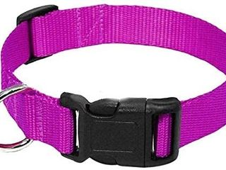 AEDIlYS Dog Collar Adjustable Nylon Classic Solid Colors for Medium Sized Neck 12 5 19 6 inch  Purple  M 12 5 19 6  inch