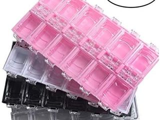 Heallily 4pcs Pack 12 Grids Plastic Organizer Box Nail Art Tool Jewelry Storage Box Rhinestone Organizer Container Case for Rhinestone Beads Ring Earrings