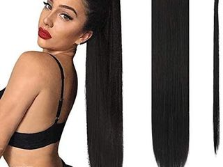 long Straight Ponytail Extension 26 inch Wrap Around Ponytail Synthetic Hair Extensions Clip in Ponytail Hairpiece for Women  Jet Black