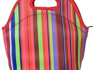Poromoro Insulated Neoprene lightweight lunch Tote lunch Bag lunch Box for Kids Women Men  Stripe