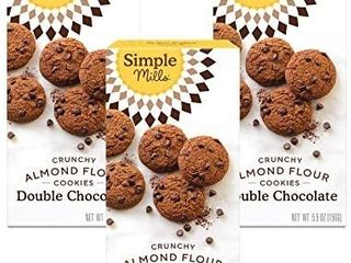 Simple Mills Almond Flour Double Chocolate Chip Cookies  Gluten Free and Delicious Crunchy Cookies  Organic Coconut Oil  Good for Snacks  Made with whole foods  3 Count   exp 1 10 2021   3 pack