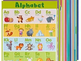 14 large Educational Posters for Kids and Toddlers with 75 Glue Point Dot  laminated Colorful Early learning Supplies for Pre K  Kindergarten  and 1st Grade  Teach letters  Numbers  Shapes  and More