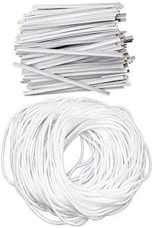 100 Pcs Metal Strips 50 Yards Elastic Bands Nose Bridge Strip and Ear Band DIY Material
