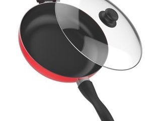 Vremi 12  Nonstick 5 Quart Saute and Frying Pan  with Tempered Glass lid  Red