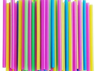 Assorted Bright Colors Jumbo Smoothie Straws  Pack of 200 Pieces
