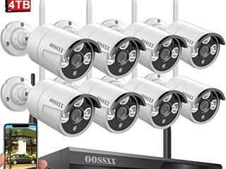 Wireless Security Camera System OOSSXX 8 Channel NVR HD 1080P Home Surveillance WiFi Cameras Systems with 4TB Hard Drive Best Wireless Remote DVR Kits for Small Business