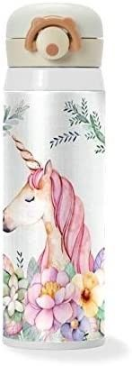 Thermos Vacuum Flask Stainless Steel Water Bottle  Floral Unicorn Double Wall Vacuum Insulated Cup   see pics for design