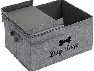 Foldable Storage Cubes Box Containers with compartmentandi1 4Medium Round Pet Toy and Accessory Storage Bin Dog Gray