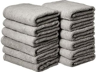 Amazon Basics Cotton Hand Towels  Gray   Pack of 12  RETAIl PRICE 21 99