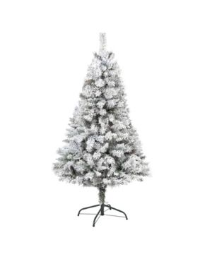 Nearly Natural Flocked River Mountain Pine Artificial Christmas Tree with Pinecones