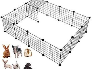 lANGXUN 16pcs Metal Wire Storage Cubes Organizer  DIY Small Animal Cage for Rabbit  Guinea Pigs  Puppy   Pet Products Portable Metal Wire Yard Fence 14  H RETAIl PRICE 35