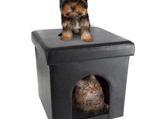 Petmaker 80 PET6109 Pet House Ottoman Collapsible Multipurpose Cat or Small Dog Bed  Faux leather   Black Retail Price  22 91
