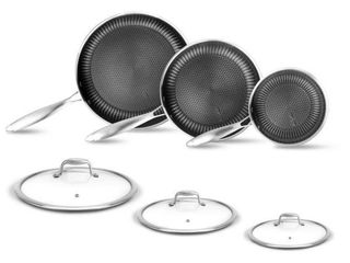 6 Piece Stainless Steel Cookware Set TriPly Dakin Etching Non Stick Coating in Black