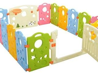 DAMAGE SEE PICTURE  Ashtonbee Baby Playpen Activity Area Play Yard With Multicolor Indoor Safety Gates  Retails 159 99