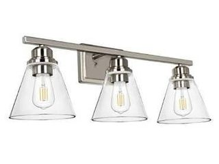 3 light Bathroom light  Brushed Nickel Vanity light Fixtures  Bathroom Wall Sconce lighting with Clear Glass Shades  ETl listed  Bulb not Included