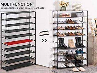 10 Tier Stainless Steel Shoe Rack   Shoe Storage Stackable Shelves   Holds 50 Pairs Of Shoes   35  X 11  X 69    Gray RETAIl PRICE 32 99