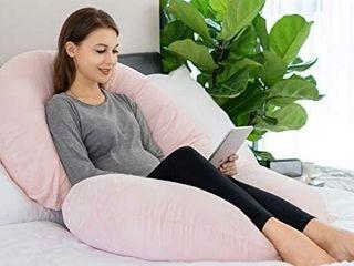 INSEN Pregnancy Pillow  Full Body Pillow  C Shaped Maternity Body pillow With Velvet Cover Pink Velvet  Retails 45 99
