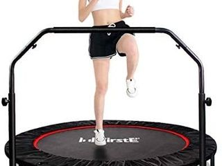 FirstE 48  Foldable Fitness Trampolines  Rebound Recreational Exercise Trampoline with 4 level Adjustable Heights Foam Handrail  Jump Trampoline for Kids and Adults Indoor Outdoor  Max load 440lbs retail price  139 00