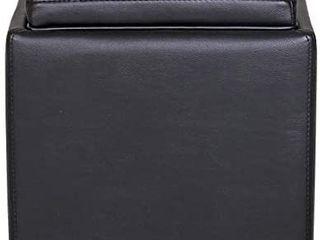 Amazon Brand  Rivet Ross Modern Vegan Faux leather lift  Top storage Ottoman Pouf  17 1  Black  Retails 142 77