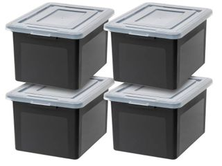 IRIS USA letter and legal Size File Box  4 Pack  Black RETAIl PRICE 51  One Is Broken from a side