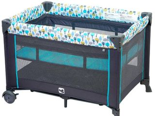 Portable Playard Sturdy Play Yard with Comfortable Mattress and Changing Station  Blue Green  missing hanging toys