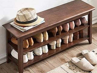 ACRO Storage Bench Wooden Shoe Bench Rustic Solid Wood Entryway Bench  Brown  39 4  Retails 119 99