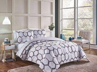 3pc King Hexagonal Reversible Comforter Set Neutral   Vue RETAIl PRICE 69 99