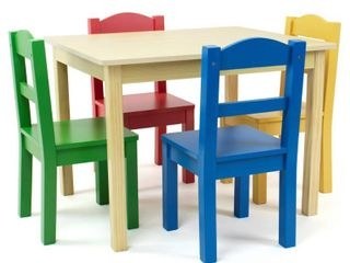 Tot Tutors Kids Wood Table and 4 Chairs Set  Multiple Colors Table is damage Retail price 104 61