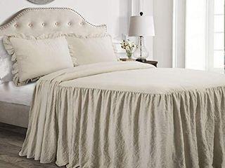 lush Decor Neutral Ruffle Skirt Bedspread Shabby Chic Farmhouse Style lightweight 3 Piece Set King