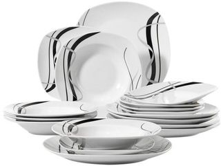Fiona 18 Piece Casual Ivory White with Black Stripe Porcelain Dinnerware Set  Service for 6   Retail price 56 43