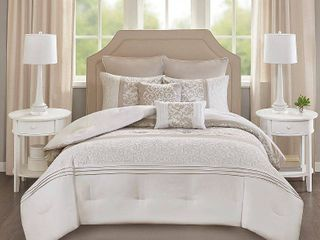 8pc Queen Casey Embroidered Comforter Set Neutral  Retails 55 99