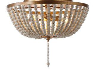 1 light Wood Beaded Metal lED Flush Mount  Antique Gold   Cream  Bulb Included