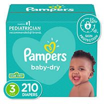 Pampers Baby Dry Disposable Diapers One Month Supply   Size 3  210ct