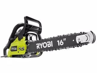 RYOBI 16 in  37cc 2 Cycle Gas Chainsaw with Heavy Duty Case  missing the ethanol shield 2 cycle oil mix  chain saw tune up kit and the fuel line kit