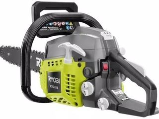 RYOBI 18 in  38cc 2 Cycle Gas Chainsaw with Heavy Duty Case   missing the ethanol shield 2 cycle oil mix  chain saw tune up kit and the fuel line kit
