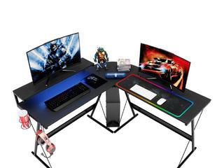 Bestier l Shaped led Gaming Computer Desk RGB Strip light Storage Shelf Modern Corner PC laptop Desk Study Table Workstation Home Office Desk with large Elevated Ergonomic Monitor Shelf Carbon Black