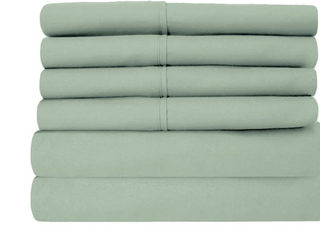 6 Piece Sage Super Soft 1600 Series Double Brushed Queen Microfiber Bed Sheets Set