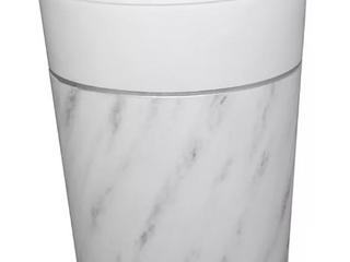 Duo 21  Diameter Marble Wastebasket   White