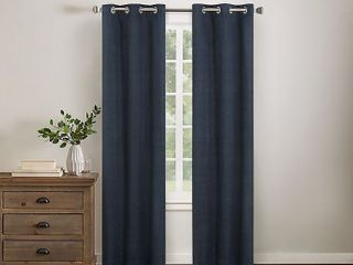 Wamsutta Collective Asher Chambray 95 Inch Grommet Blackout Window Curtain Panel in Navy